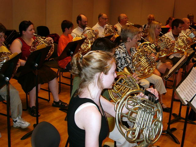 First Large Horn Choir Rehearsal in Mott College Recital Hall